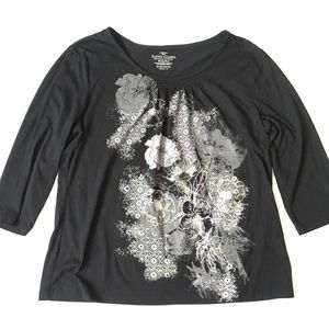 *3/$30* Faded Glory Black & Grey Floral Top